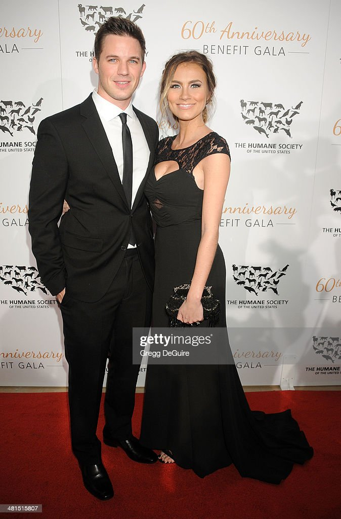 Actor <a gi-track='captionPersonalityLinkClicked' href=/galleries/search?phrase=Matt+Lanter&family=editorial&specificpeople=585848 ng-click='$event.stopPropagation()'>Matt Lanter</a> and Angela Stacy arrive at The Humane Society Of The United States 60th anniversary benefit gala at The Beverly Hilton Hotel on March 29, 2014 in Beverly Hills, California.