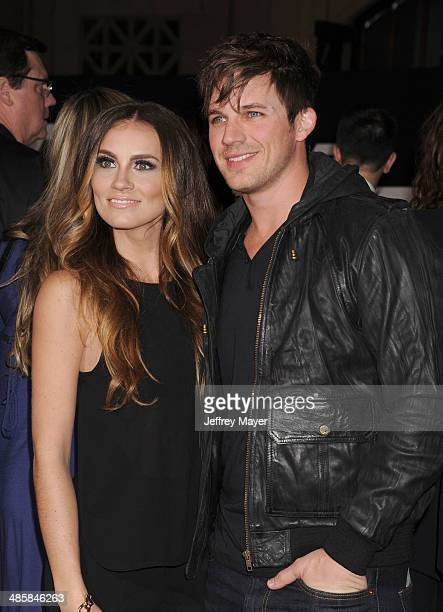 Actor Matt Lanter and Angela Stacy arrive at the Los Angeles premiere of 'Need For Speed' at TCL Chinese Theatre on March 6 2014 in Hollywood...