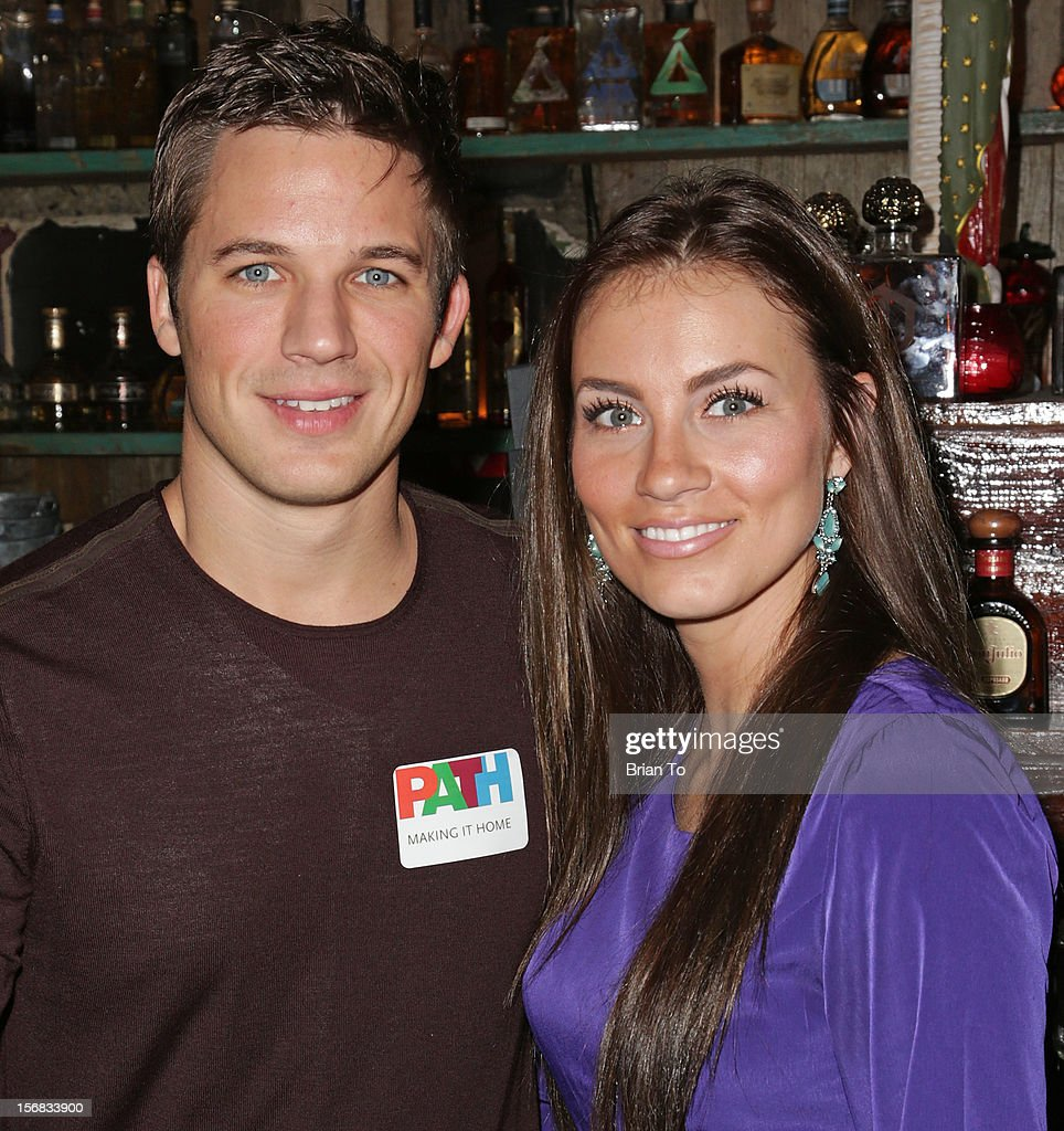 Actor <a gi-track='captionPersonalityLinkClicked' href=/galleries/search?phrase=Matt+Lanter&family=editorial&specificpeople=585848 ng-click='$event.stopPropagation()'>Matt Lanter</a> and Angela Stacy attend PATH's 4th Annual Thanksgiving Meal at Pink Taco on November 22, 2012 in Los Angeles, California.