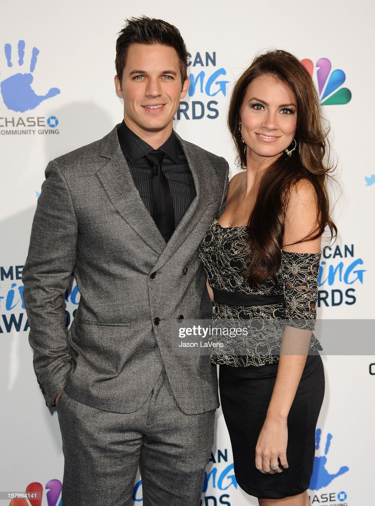 Actor <a gi-track='captionPersonalityLinkClicked' href=/galleries/search?phrase=Matt+Lanter&family=editorial&specificpeople=585848 ng-click='$event.stopPropagation()'>Matt Lanter</a> and fiance Angela Stacy attend 2012 American Giving Awards at Pasadena Civic Auditorium on December 7, 2012 in Pasadena, California.