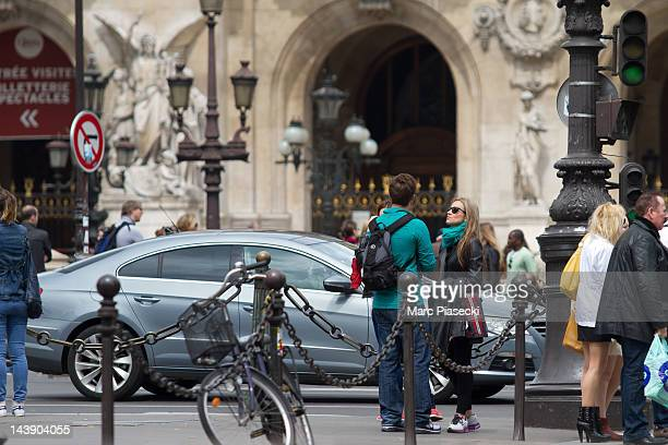 Actor Matt Lanter and girlfriend Angela Stacy are sighted on the 'Place de l'Opera' on May 5 2012 in Paris France