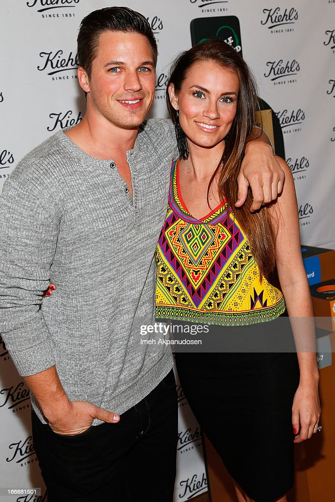 Actor Matt Lanter (L) and his fiance Angela Stacy attend Kiehl's launch of an Environmental Partnership Benefiting Recycle Across America at Kiehl's Since 1851 Santa Monica Store on April 17, 2013 in Santa Monica, California.