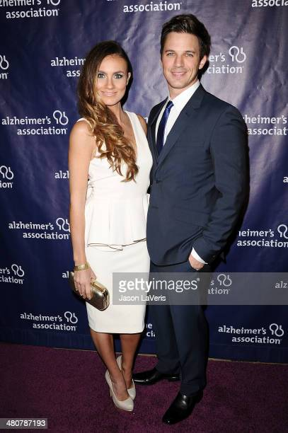 Actor Matt Lanter and wife Angela Stacy attend the 22nd 'A Night At Sardi's' at The Beverly Hilton Hotel on March 26 2014 in Beverly Hills California