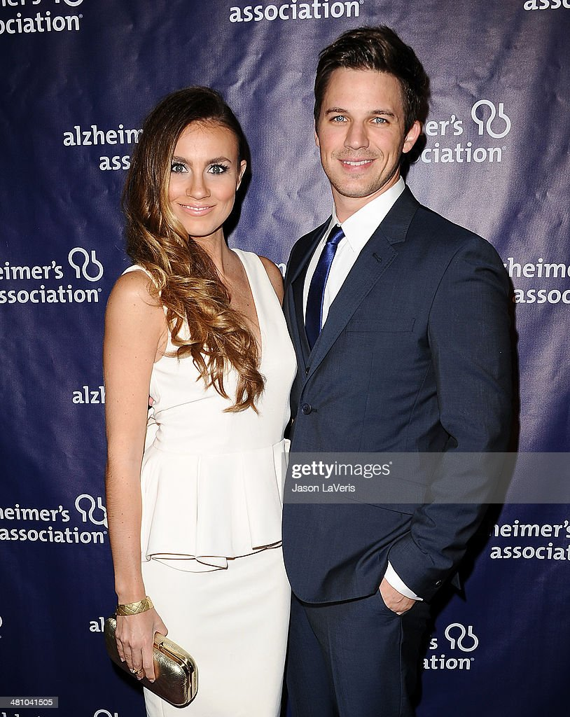 Actor <a gi-track='captionPersonalityLinkClicked' href=/galleries/search?phrase=Matt+Lanter&family=editorial&specificpeople=585848 ng-click='$event.stopPropagation()'>Matt Lanter</a> (R) and wife Angela Stacy attend the 22nd 'A Night At Sardi's' at The Beverly Hilton Hotel on March 26, 2014 in Beverly Hills, California.