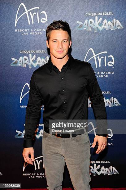 Actor Matt Lanter arrives at the Las Vegas premiere of 'Zarkana by Cirque du Soleil' at the Aria Resort Casino at CityCenter on November 9 2012 in...