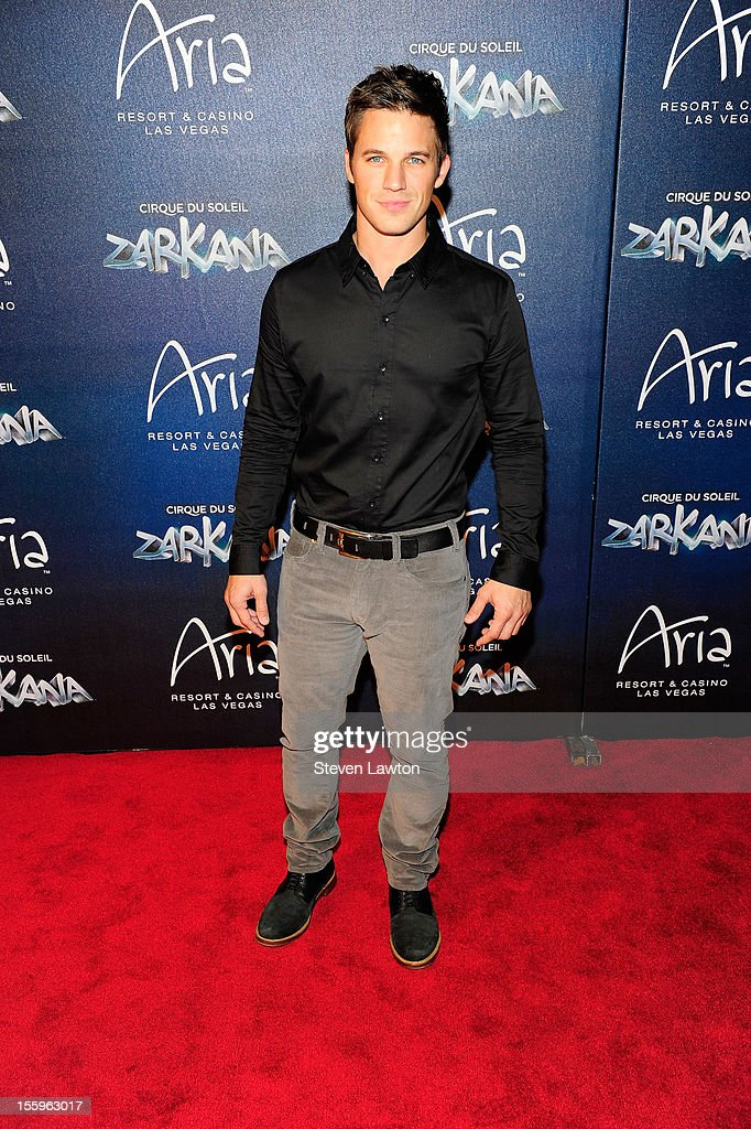 Actor Matt Lanter arrives at the Las Vegas premiere of 'Zarkana by Cirque du Soleil' at the Aria Resort & Casino at CityCenter on November 9, 2012 in Las Vegas, Nevada.