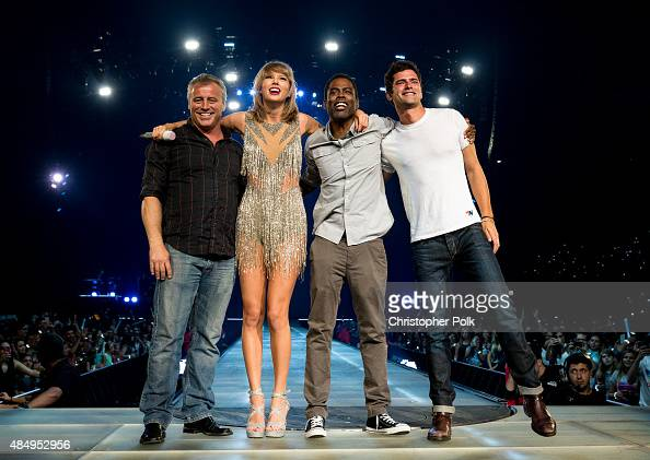 Actor Matt Leblanc singersongwriter Taylor Swift comedian Chris Rock and actor Sean O'Pry perform onstage during Taylor Swift The 1989 World Tour...