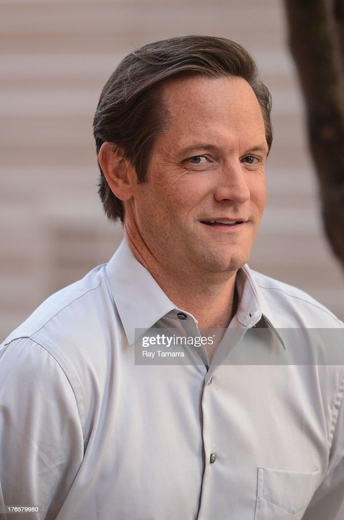 Actor Matt Letscher enters his trailer at the 'Carrie Diaries' movie set in Midtown Manhattan on August 15, 2013 in New York City.