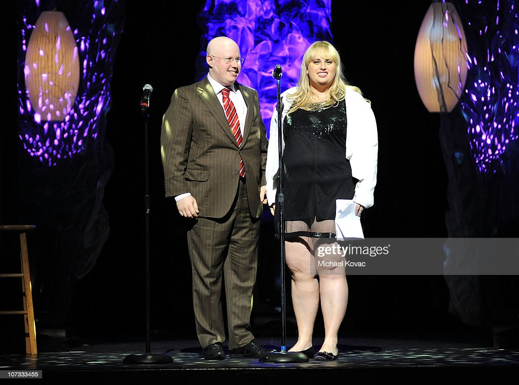 Actor <a gi-track='captionPersonalityLinkClicked' href=/galleries/search?phrase=Matt+Lucas+-+Comedian&family=editorial&specificpeople=204202 ng-click='$event.stopPropagation()'>Matt Lucas</a> and Comedian Rebel Wilson speaks onstage at Variety's Power of Comedy presented by Sims 3 in Partnership with Bing at Club Nokia on December 4, 2010 in Los Angeles, California.