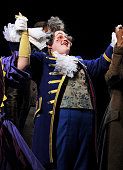 Actor Matt Lucas bows at the curtain call following his and Alfie Boe's debut performance in the West End production of Les Miserables at The Queen's...