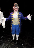 Actor Matt Lucas poses backstage following his and Alfie Boe's first performance in the West End production of Les Miserables at The Queen's Theatre...