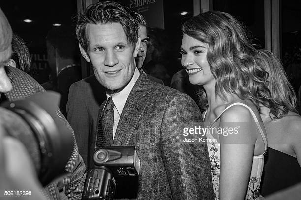 Actor Matt Smith and actress Lily James attend the premiere of Screen Gems' 'Pride And Prejudice And Zombies' on January 21 2016 in Los Angeles...