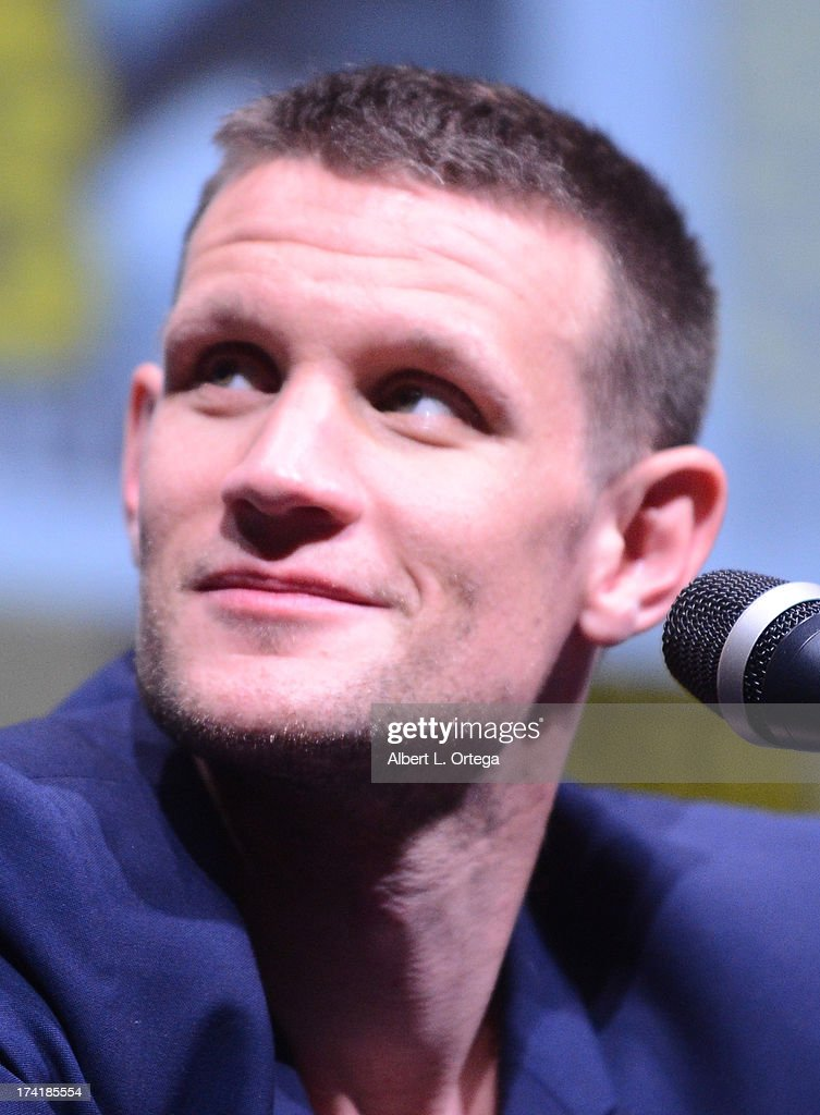 Actor <a gi-track='captionPersonalityLinkClicked' href=/galleries/search?phrase=Matt+Smith+-+Actor&family=editorial&specificpeople=6877373 ng-click='$event.stopPropagation()'>Matt Smith</a> speaks onstage at BBC America's 'Doctor Who' 50th Anniversary panel during Comic-Con International 2013 at San Diego Convention Center on July 21, 2013 in San Diego, California.