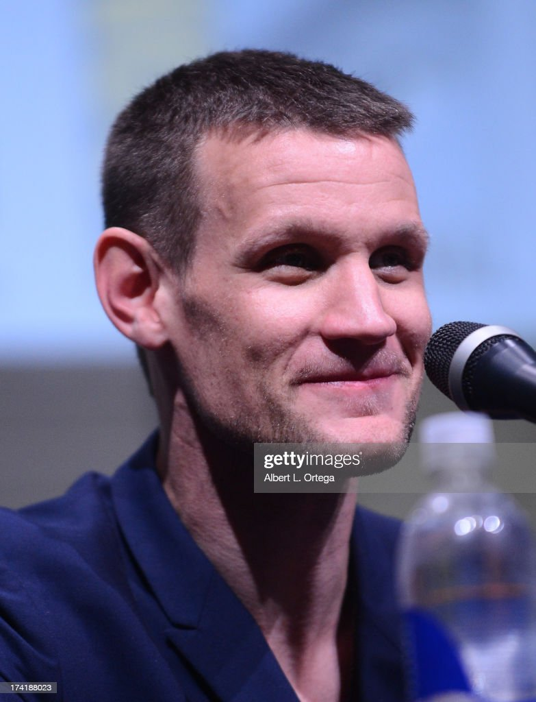 Actor <a gi-track='captionPersonalityLinkClicked' href=/galleries/search?phrase=Matt+Smith+-+Acteur&family=editorial&specificpeople=6877373 ng-click='$event.stopPropagation()'>Matt Smith</a> speaks onstage at BBC America's 'Doctor Who' 50th Anniversary panel during Comic-Con International 2013 at San Diego Convention Center on July 21, 2013 in San Diego, California.