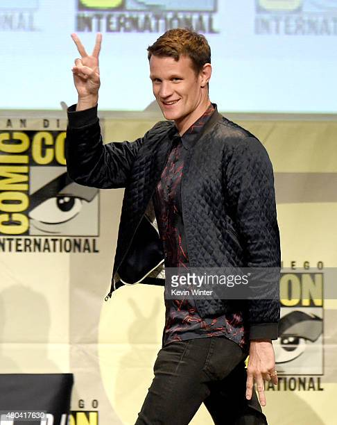 Actor Matt Smith walks onstage at the Screen Gems panel for 'Patient Zero' and 'Pride and Prejudice and Zombies' during ComicCon International 2015...