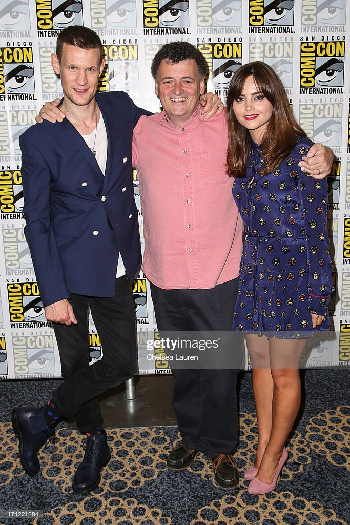 Actor Matt Smith, writer Steven Moffat and Jenna Coleman pose during the 'Doctor Who' press line during day 4 of Comic-Con International on July 21, 2013 in San Diego, California.