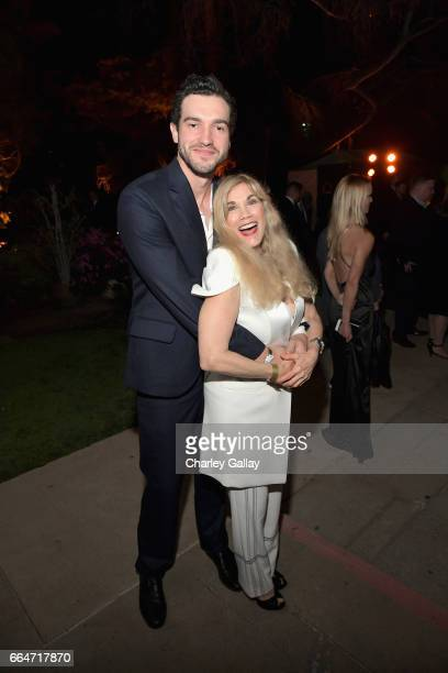 Actor Matt Whelan and Barbi Benton attend Amazon Original Series 'American Playboy The Hugh Hefner Story' premiere event at The Playboy Mansion on...
