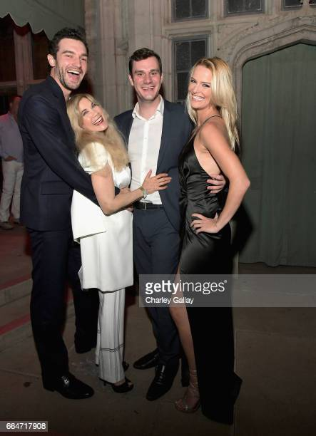 Actor Matt Whelan Barbi Benton and Chief Creative Officer at Playboy Cooper Hefner and actor Jade Albany attend Amazon Original Series 'American...