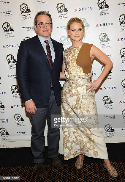 Actor Matthew Broderick and actress Alice Eve attend The Friars Club Presents An Evening With 'Dirty Weekend' at The Friars Club on August 26 2015 in...