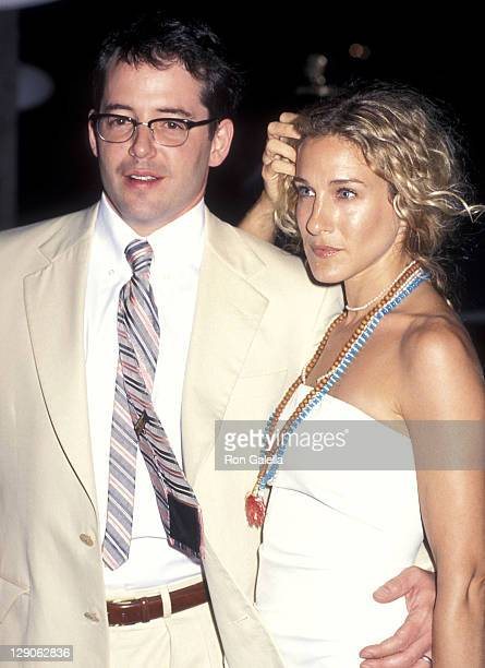 Actor Matthew Broderick and actress Sarah Jessica Parker attend the Talk Magazine Launch Party on August 2 1999 at Liberty Island in New York City