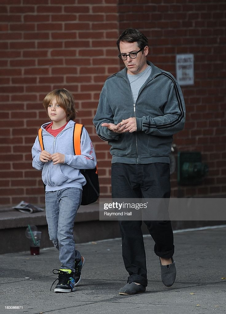 Actor <a gi-track='captionPersonalityLinkClicked' href=/galleries/search?phrase=Matthew+Broderick&family=editorial&specificpeople=201912 ng-click='$event.stopPropagation()'>Matthew Broderick</a> and <a gi-track='captionPersonalityLinkClicked' href=/galleries/search?phrase=James+Wilkie+Broderick&family=editorial&specificpeople=5579643 ng-click='$event.stopPropagation()'>James Wilkie Broderick</a> are seen in the West Village on October 3, 2013 in New York City.