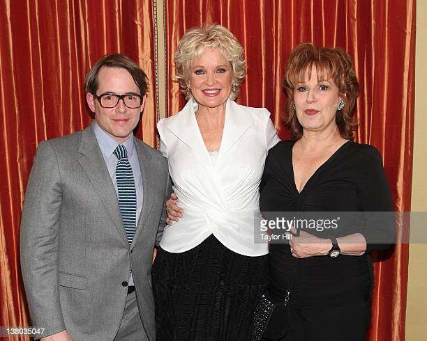 Actor Matthew Broderick singer Christine Ebersole and TV personality Joy Behar attend Christine Ebersole's opening night event at Cafe Carlyle on...