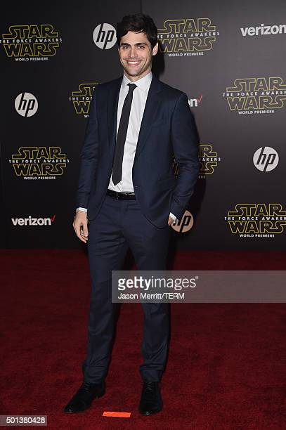 Actor Matthew Daddario attends Premiere of Walt Disney Pictures and Lucasfilm's 'Star Wars The Force Awakens' on December 14 2015 in Hollywood...
