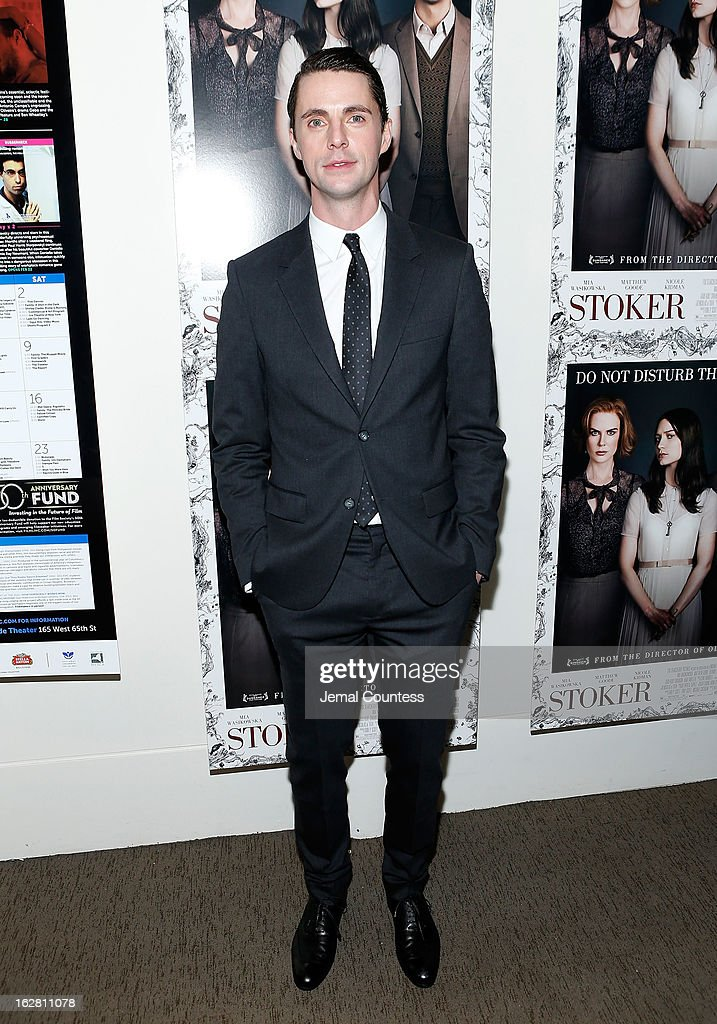 Actor <a gi-track='captionPersonalityLinkClicked' href=/galleries/search?phrase=Matthew+Goode&family=editorial&specificpeople=216331 ng-click='$event.stopPropagation()'>Matthew Goode</a> attends the 'Stoker' New York Screening After Party at Frieda And Roy Furman Gallery on February 27, 2013 in New York City.