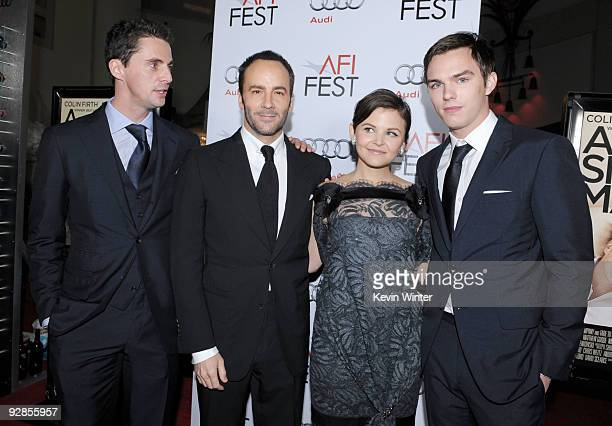 Actor Matthew Goode director Tom Ford actors Ginnifer Goodwin and Nicholas Hoult pose at the AFI FEST 2009 screening of the Weinstein Company's 'A...