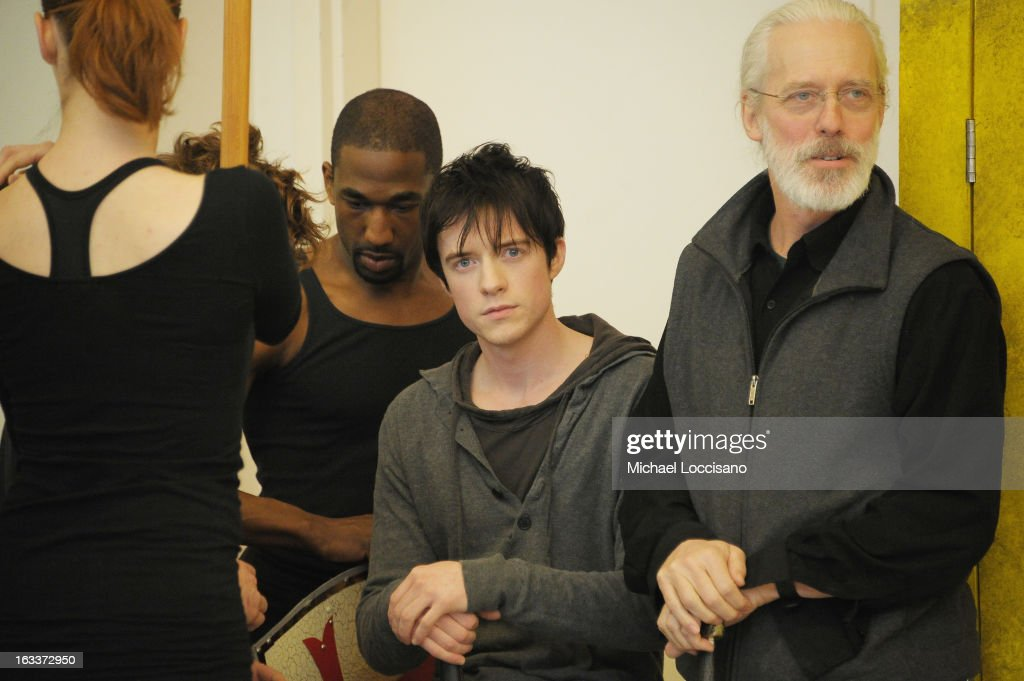 Actor Matthew James Thomas (C) performs in the 'Pippin' Broadway Open Press Rehearsal at Manhattan Movement & Arts Center on March 8, 2013 in New York City.