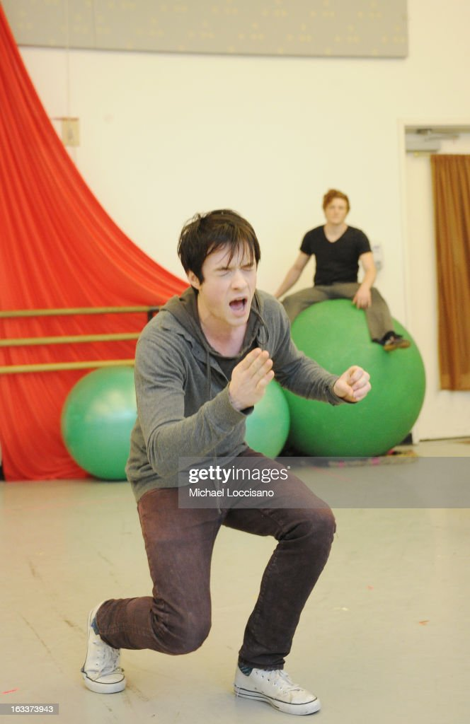 Actor Matthew James Thomas (L) performs in the 'Pippin' Broadway Open Press Rehearsal at Manhattan Movement & Arts Center on March 8, 2013 in New York City.