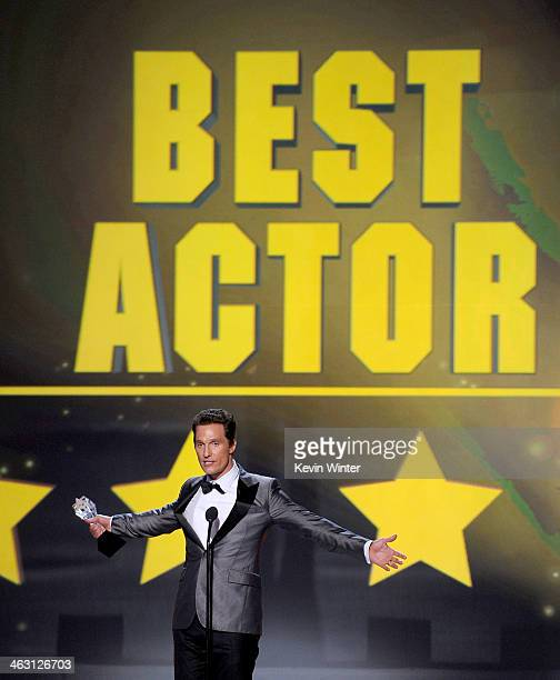 Actor Matthew McConaughey accepts the Best Actor award for 'Dallas Buyers Club' onstage during the 19th Annual Critics' Choice Movie Awards at Barker...