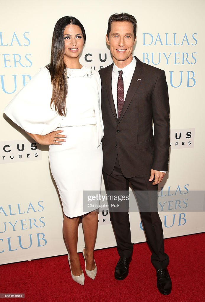 Actor Matthew McConaughey (R) and Camila Alves attend Focus Features' 'Dallas Buyers Club' premiere at the Academy of Motion Picture Arts and Sciences on October 17, 2013 in Beverly Hills, California.