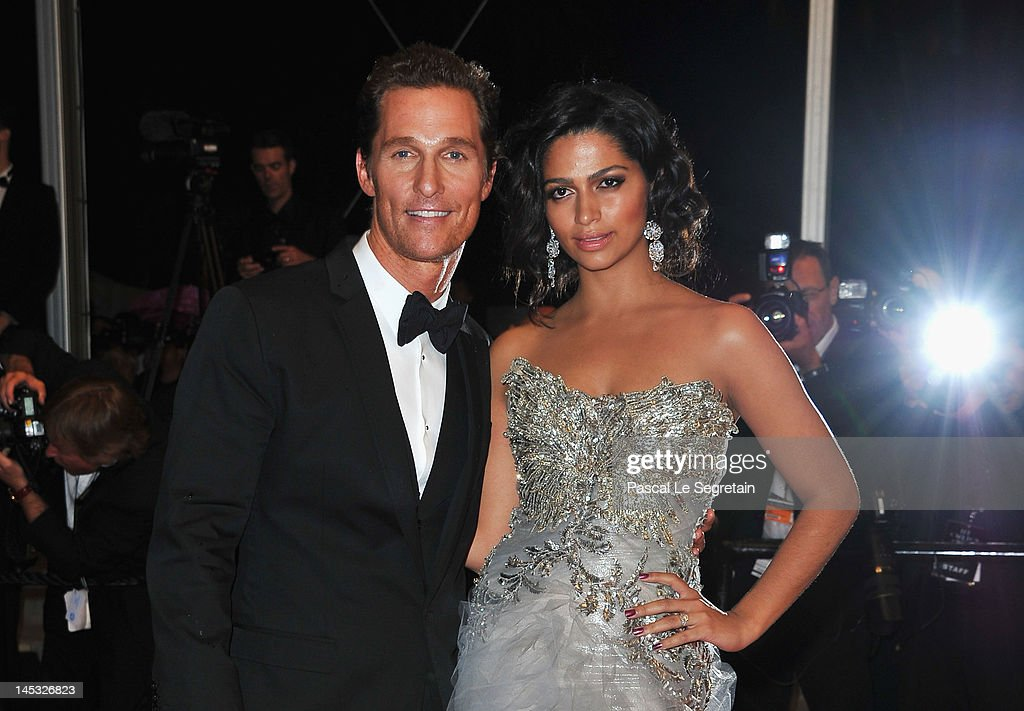 Actor <a gi-track='captionPersonalityLinkClicked' href=/galleries/search?phrase=Matthew+McConaughey&family=editorial&specificpeople=201663 ng-click='$event.stopPropagation()'>Matthew McConaughey</a> and <a gi-track='captionPersonalityLinkClicked' href=/galleries/search?phrase=Camila+Alves&family=editorial&specificpeople=4501431 ng-click='$event.stopPropagation()'>Camila Alves</a> depart the 'Mud' Premiere during the 65th Annual Cannes Film Festival at Palais des Festivals on May 26, 2012 in Cannes, France.
