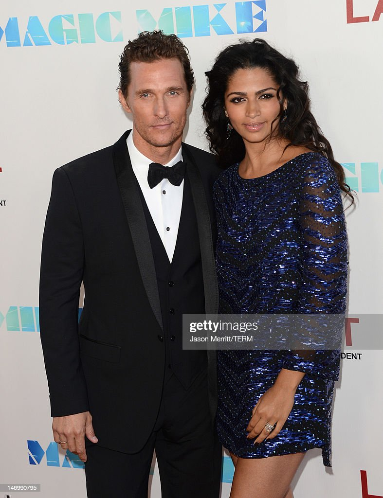 Actor <a gi-track='captionPersonalityLinkClicked' href=/galleries/search?phrase=Matthew+McConaughey&family=editorial&specificpeople=201663 ng-click='$event.stopPropagation()'>Matthew McConaughey</a> (L) and Camila McConaughey arrive at the premiere of Warner Bros. Pictures' 'Magic Mike' during the 2012 Los Angeles Film Festival at Regal Cinemas L.A. Live on June 24, 2012 in Los Angeles, California.