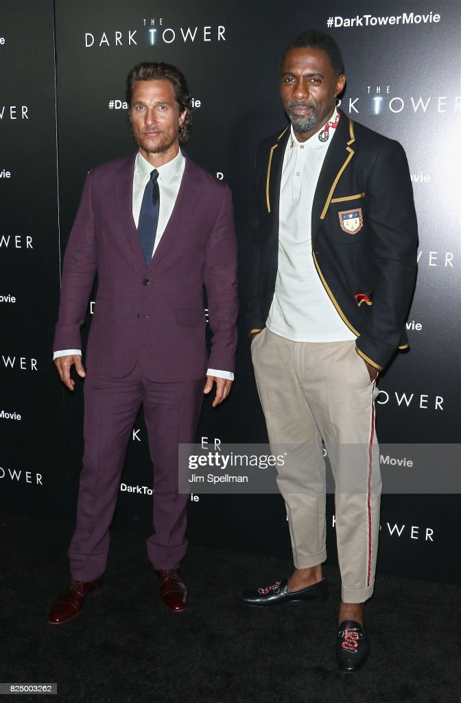 Actor Matthew McConaughey (L) and Idris Elba attend 'The Dark Tower' New York premiere at Museum of Modern Art on July 31, 2017 in New York City.