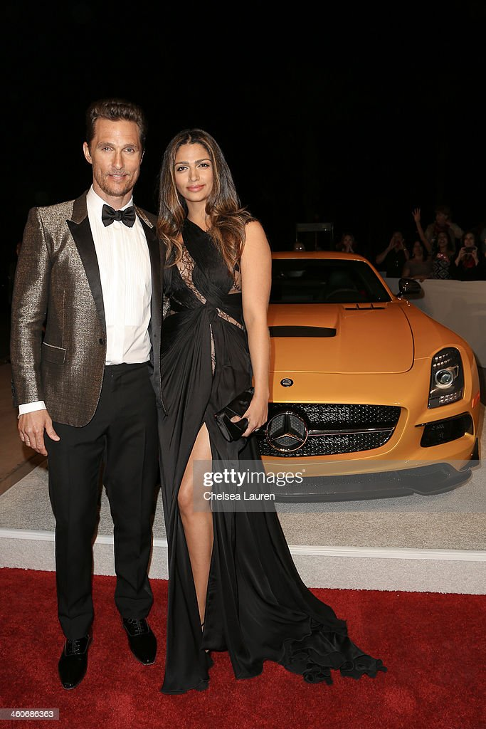 Actor <a gi-track='captionPersonalityLinkClicked' href=/galleries/search?phrase=Matthew+McConaughey&family=editorial&specificpeople=201663 ng-click='$event.stopPropagation()'>Matthew McConaughey</a> (L) and model <a gi-track='captionPersonalityLinkClicked' href=/galleries/search?phrase=Camila+Alves&family=editorial&specificpeople=4501431 ng-click='$event.stopPropagation()'>Camila Alves</a> arrive in style during the Mercedes-Benz arrivals at the 25th Annual Palm Springs International Film Festival Awards Gala onJanuary 4, 2014 in Palm Springs, California.