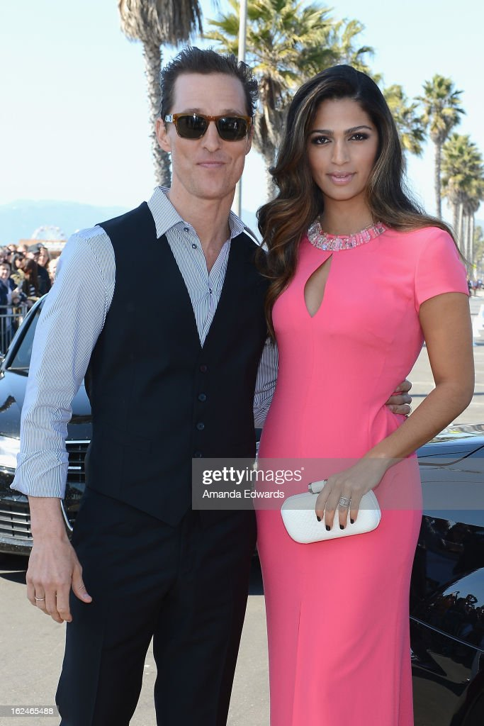 Actor <a gi-track='captionPersonalityLinkClicked' href=/galleries/search?phrase=Matthew+McConaughey&family=editorial&specificpeople=201663 ng-click='$event.stopPropagation()'>Matthew McConaughey</a> and model <a gi-track='captionPersonalityLinkClicked' href=/galleries/search?phrase=Camila+Alves&family=editorial&specificpeople=4501431 ng-click='$event.stopPropagation()'>Camila Alves</a> attend the 2013 Film Independent Spirit Awards at Santa Monica Beach on February 23, 2013 in Santa Monica, California.