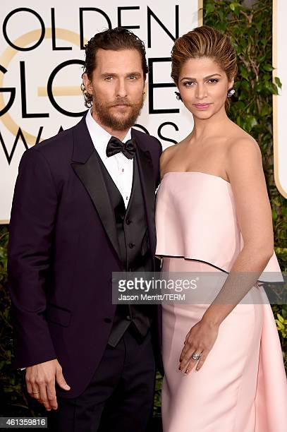 Actor Matthew McConaughey and model Camila Alves attend the 72nd Annual Golden Globe Awards at The Beverly Hilton Hotel on January 11 2015 in Beverly...