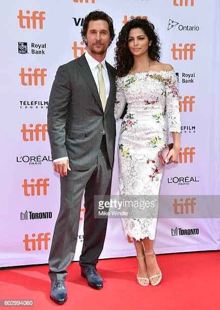 Actor Matthew McConaughey and model Camila Alves attend the 'Sing' premiere during the 2016 Toronto International Film Festival at Princess of Wales...