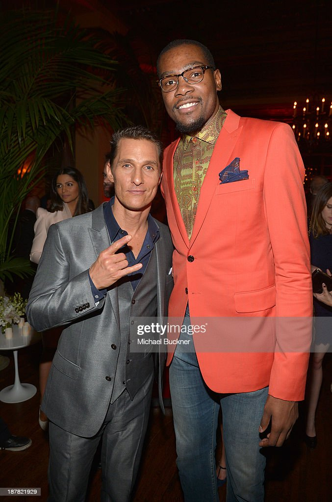 Actor <a gi-track='captionPersonalityLinkClicked' href=/galleries/search?phrase=Matthew+McConaughey&family=editorial&specificpeople=201663 ng-click='$event.stopPropagation()'>Matthew McConaughey</a> (L) and professional basketball player <a gi-track='captionPersonalityLinkClicked' href=/galleries/search?phrase=Kevin+Durant&family=editorial&specificpeople=3847329 ng-click='$event.stopPropagation()'>Kevin Durant</a> attend the GQ Men Of The Year Party at The Ebell Club of Los Angeles on November 12, 2013 in Los Angeles, California.