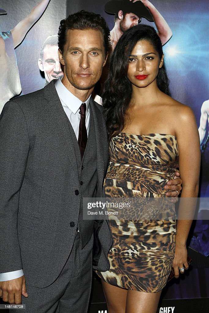 Actor <a gi-track='captionPersonalityLinkClicked' href=/galleries/search?phrase=Matthew+McConaughey&family=editorial&specificpeople=201663 ng-click='$event.stopPropagation()'>Matthew McConaughey</a> (L) and wife <a gi-track='captionPersonalityLinkClicked' href=/galleries/search?phrase=Camila+Alves&family=editorial&specificpeople=4501431 ng-click='$event.stopPropagation()'>Camila Alves</a> attend the European premiere of 'Magic Mike' at The May Fair Hotel on July 10, 2012 in London, England.