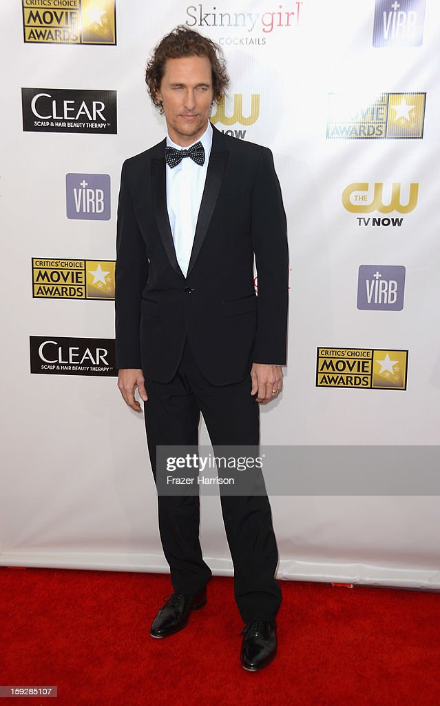 Actor <a gi-track='captionPersonalityLinkClicked' href=/galleries/search?phrase=Matthew+McConaughey&family=editorial&specificpeople=201663 ng-click='$event.stopPropagation()'>Matthew McConaughey</a> arrives at the 18th Annual Critics' Choice Movie Awards at Barker Hangar on January 10, 2013 in Santa Monica, California.