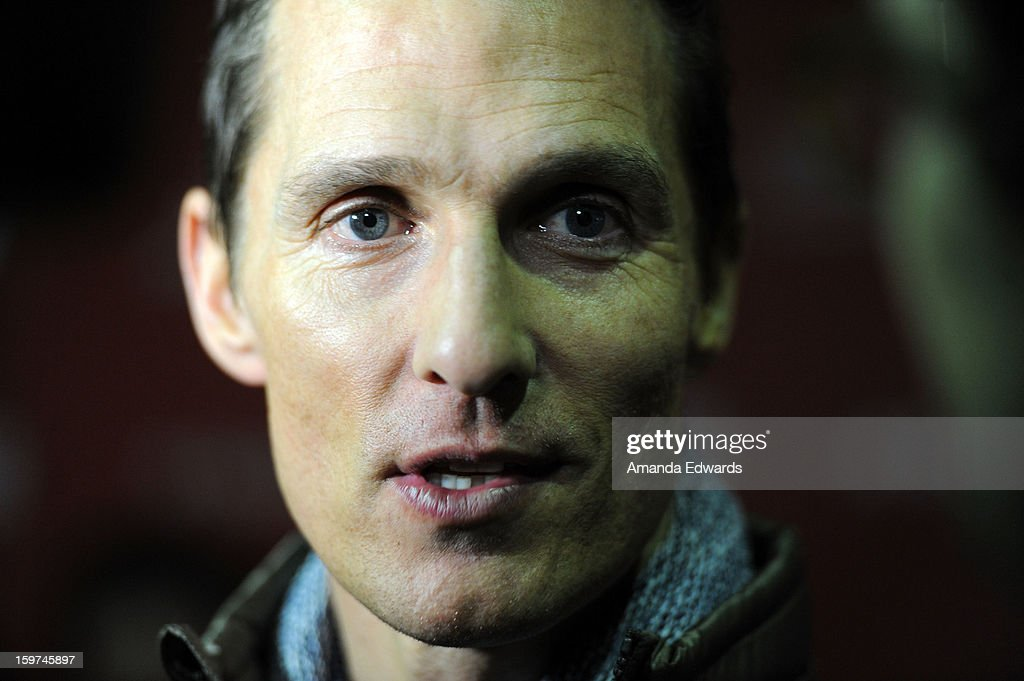Actor Matthew McConaughey arrives at the 2013 Sundance Film Festival Premiere Of 'Mud' at The Marc Theatre on January 19, 2013 in Park City, Utah.