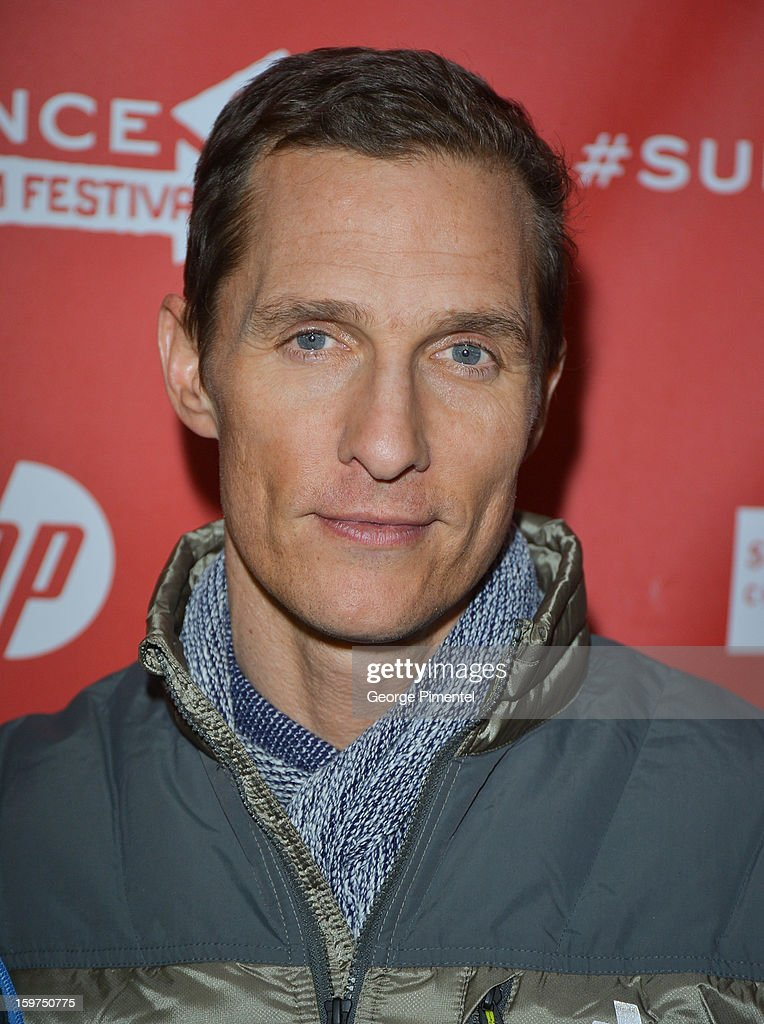 Actor <a gi-track='captionPersonalityLinkClicked' href=/galleries/search?phrase=Matthew+McConaughey&family=editorial&specificpeople=201663 ng-click='$event.stopPropagation()'>Matthew McConaughey</a> arrives at the 2013 Sundance Film Festival Premiere of 'Mud' at The Marc Theatre on January 19, 2013 in Park City, Utah.