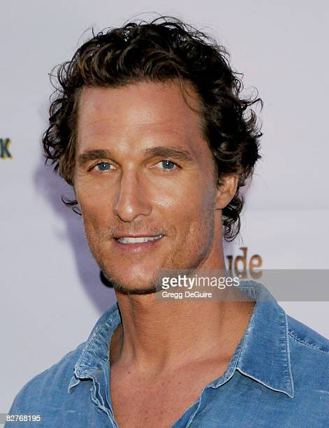 Actor Matthew McConaughey arrives at the 'Surfer Dude' premiere at the Malibu Cinemas on September 10 2008 in Malibu California
