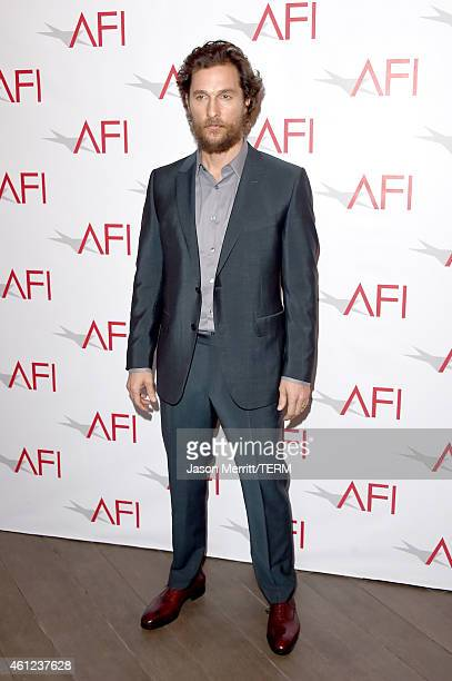 Actor Matthew McConaughey attends the 15th Annual AFI Awards at Four Seasons Hotel Los Angeles at Beverly Hills on January 9 2015 in Beverly Hills...