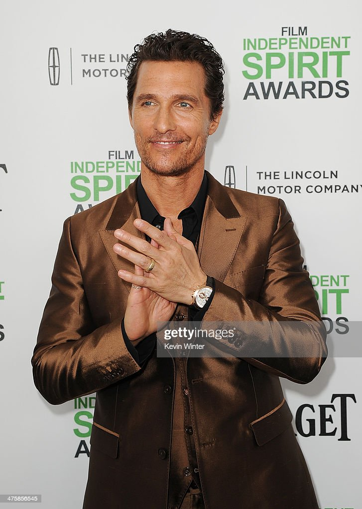 Actor <a gi-track='captionPersonalityLinkClicked' href=/galleries/search?phrase=Matthew+McConaughey&family=editorial&specificpeople=201663 ng-click='$event.stopPropagation()'>Matthew McConaughey</a> attends the 2014 Film Independent Spirit Awards at Santa Monica Beach on March 1, 2014 in Santa Monica, California.