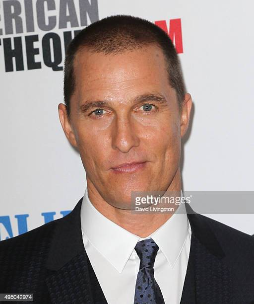 Actor Matthew McConaughey attends the 29th American Cinematheque Award Honoring Reese Witherspoon at the Hyatt Regency Century Plaza on October 30...