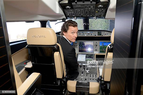 Actor Matthew McConaughey attends the Bombardier Business Aircraft Global 7000 Jet Showcase at The Beverly Hilton Hotel on May 4 2016 in Beverly...